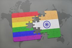 Puzzle with the national flag of india and gay rainbow flag on a world map background. 3D illustration stock images