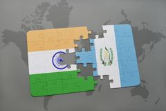 Puzzle with the national flag of india and guatemala on a world map background. 3D illustration royalty free stock image