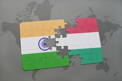 Puzzle with the national flag of india and hungary on a world map background. 3D illustration royalty free stock images