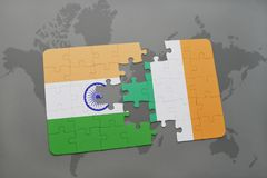 Puzzle with the national flag of india and ireland on a world map background. 3D illustration royalty free stock photography