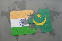 Puzzle with the national flag of india and mauritania on a world map background. 3D illustration royalty free stock photo