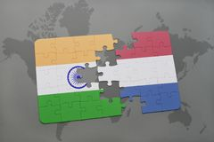 Puzzle with the national flag of india and netherlands on a world map background. 3D illustration royalty free stock image