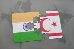 Puzzle with the national flag of india and northern cyprus on a world map background. Stock Photo