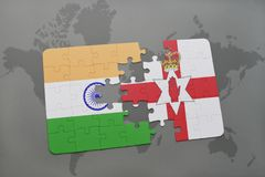 Puzzle with the national flag of india and northern ireland on a world map background. 3D illustration Stock Image