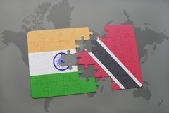 Puzzle with the national flag of india and trinidad and tobago on a world map background. 3D illustration Stock Image