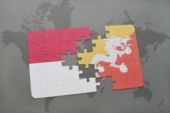 puzzle with the national flag of indonesia and bhutan on a world map background. stock illustration