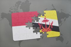 Puzzle with the national flag of indonesia and brunei on a world map background. 3D illustration Royalty Free Stock Photography