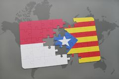 Puzzle with the national flag of indonesia and catalonia on a world map background. 3D illustration Stock Images
