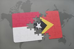 Puzzle with the national flag of indonesia and east timor on a world map background. 3D illustration Royalty Free Stock Photography