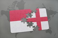 Puzzle with the national flag of indonesia and england on a world map background. 3D illustration Stock Photo