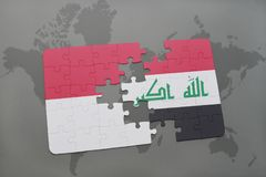 Puzzle with the national flag of indonesia and iraq on a world map background. 3D illustration Stock Image