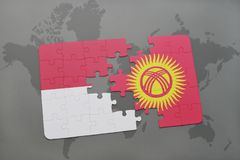 puzzle with the national flag of indonesia and kyrgyzstan on a world map background. royalty free illustration