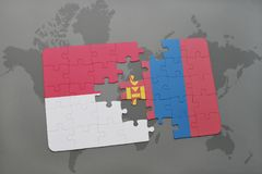 Puzzle with the national flag of indonesia and mongolia on a world map background. 3D illustration Stock Image