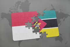 Puzzle with the national flag of indonesia and mozambique on a world map background. 3D illustration Royalty Free Stock Image