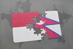 Puzzle with the national flag of indonesia and nepal on a world map background. 3D illustration Stock Image