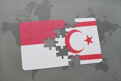 Puzzle with the national flag of indonesia and northern cyprus on a world map background. 3D illustration Stock Images