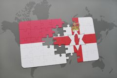 Puzzle with the national flag of indonesia and northern ireland on a world map background. 3D illustration Royalty Free Stock Image