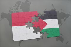 Puzzle with the national flag of indonesia and palestine on a world map background. 3D illustration Royalty Free Stock Photos