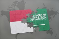 Puzzle with the national flag of indonesia and saudi arabia on a world map background. 3D illustration Royalty Free Stock Photos