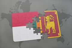 Puzzle with the national flag of indonesia and sri lanka on a world map background. 3D illustration Royalty Free Stock Photography