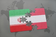 Puzzle with the national flag of iran and austria on a world map background. 3D illustration Stock Images