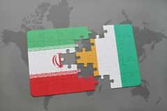 Puzzle with the national flag of iran and cote divoire on a world map background. 3D illustration Royalty Free Stock Image