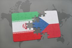 puzzle with the national flag of iran and czech republic on a world map background. Stock Images