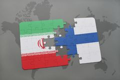 Puzzle with the national flag of iran and finland on a world map background. 3D illustration Royalty Free Stock Photos