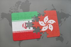 Puzzle with the national flag of iran and hong kong on a world map background. 3D illustration Stock Photo