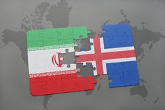 Puzzle with the national flag of iran and iceland on a world map background. 3D illustration Royalty Free Stock Photo