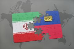 Puzzle with the national flag of iran and liechtenstein on a world map background. Stock Photos