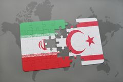 Puzzle with the national flag of iran and northern cyprus on a world map background. Stock Images