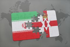 Puzzle with the national flag of iran and northern ireland on a world map background. 3D illustration Stock Images