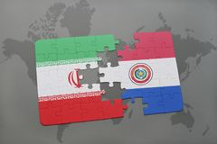 puzzle with the national flag of iran and paraguay on a world map background. Royalty Free Stock Photography