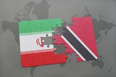 Puzzle with the national flag of iran and trinidad and tobago on a world map background. 3D illustration Stock Photography