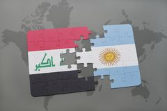 Puzzle with the national flag of iraq and argentina on a world map background. Stock Images