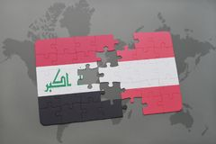 Puzzle with the national flag of iraq and austria on a world map background. 3D illustration Royalty Free Stock Photography