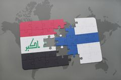 Puzzle with the national flag of iraq and finland on a world map background. 3D illustration Royalty Free Stock Images