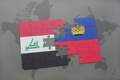 Puzzle with the national flag of iraq and liechtenstein on a world map background. Stock Photos