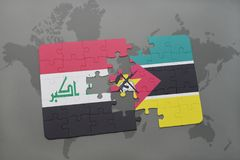 Puzzle with the national flag of iraq and mozambique on a world map background. 3D illustration Stock Photos
