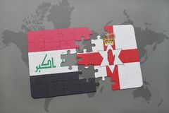 Puzzle with the national flag of iraq and northern ireland on a world map background. 3D illustration Royalty Free Stock Photos