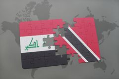 Puzzle with the national flag of iraq and trinidad and tobago on a world map background. 3D illustration Stock Photos