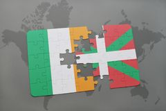 Puzzle with the national flag of ireland and basque country on a world map background. 3D illustration Royalty Free Stock Photo