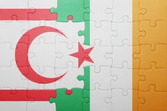 Puzzle with the national flag of ireland and northern cyprus. Concept stock photography