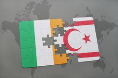 Puzzle with the national flag of ireland and northern cyprus on a world map. Background. 3D illustration Stock Photo