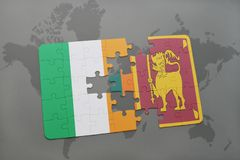puzzle with the national flag of ireland and sri lanka on a world map Stock Photography