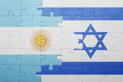 Puzzle with the national flag of israel and argentina Royalty Free Stock Photos
