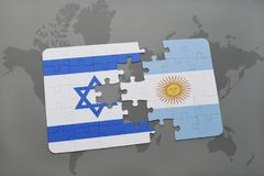 Puzzle with the national flag of israel and argentina on a world map background. Stock Photography