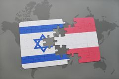 Puzzle with the national flag of israel and austria on a world map background. Stock Photos