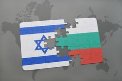 Puzzle with the national flag of israel and bulgaria on a world map background. Stock Images